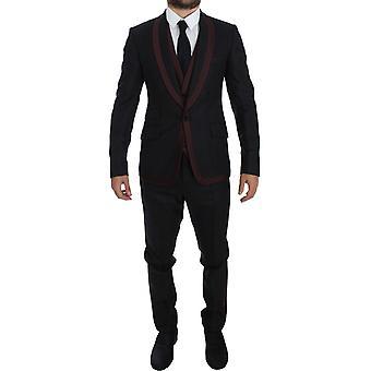 Dolce & Gabbana Gray Gestreept3 stuks Slim Fit One-Button Suit Tuxedo