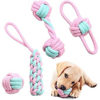 Hundespielzeug Seil Set, 4 Stück Langlebiges Interaktives Hundespielzeug für Welpen kleine und
