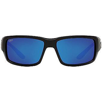 Costa Del Mar Mens Fantail 580P Polarized Rectangular Sunglasses - Matte Black/Grey Blue Mirrored - 59 mm