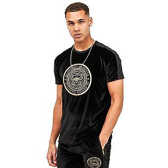 Glorious Gangsta   8909 Mareno Velour Tape Crest Logo Half Sleeve T-shirt - Black