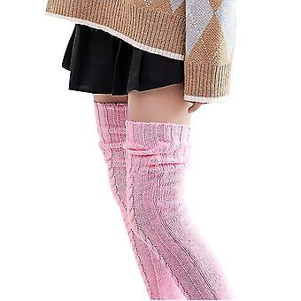 Sosete tricotate pentru femei peste genunchi tub lung prelungit Pile Socks (roz)