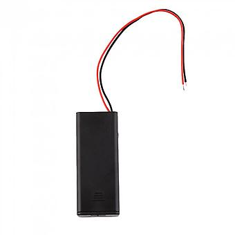 Battery Case Box Holder For 2-aaa Battery With On/off Switch Wire Leads
