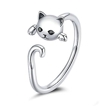 Cute Cat Simple Silver plating Finger Rings for Women Open Adjustable Ring Fashion Jewelry