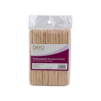 """DEO Manikyr nagelband pinnar - biologiskt nedbrytbar björk trä - 6"""" - Paket med 100"""