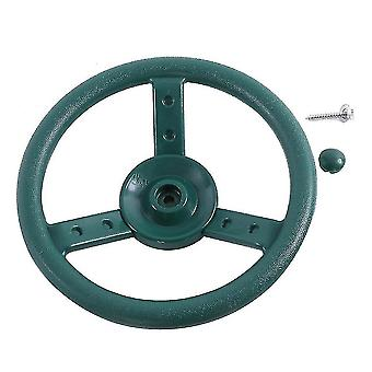 Toy race car track accessories children's steering wheel for use on swings and playground green