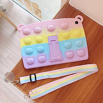 Push Pop Fidget Toys Case For Ipad Tablet Bear Cover With Stand Pencil Holder Strap