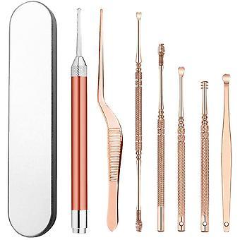 Kit de retrait de cérumen En acier inoxydable Ensemble de nettoyant pour les oreilles avec boîte de rangement