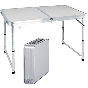 Folding Table 4ft Heavy Duty With Carry Handle For Camping Buffet Outdoor Adjustable Height