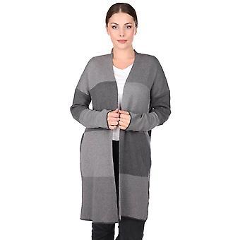 grå åpen front rutete kvinners strikkevarer cardigan