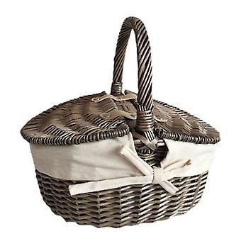 Liten antik tvätta Double lock Oval picknickkorg med vita foder