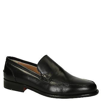 Leonardo Shoes Men-apos;s chaussures mocassins élégantes faites à la main en cuir de veau noir