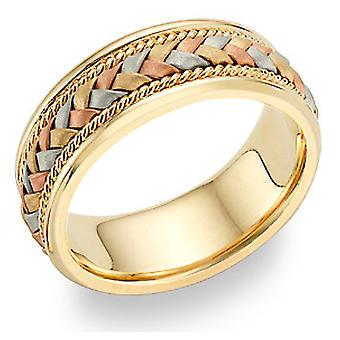 Braided Wedding Band in 18K Tri-Color Gold