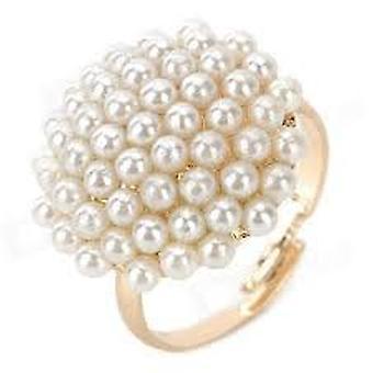 Boolavard® TM Vintage Gold-filled cogumelo em forma de anel pérola - branco
