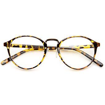 Vintage inspirado cuernos borde Metal puente P3 lente claro gafas