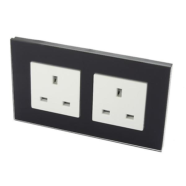 I LumoS Luxury Unswitched Black Glass 13A UK Wall Plug Double Socket