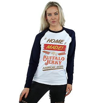 American Gods Women's Buffalo Jerky Long Sleeved Baseball Shirt