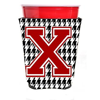 Monogram - Houndstooth  Initial  X Red Solo Cup Beverage Insulator Hugger