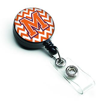 Letter M Chevron Orange and Regalia Retractable Badge Reel
