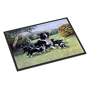屋内または屋外のママとボーダーコリー子犬マット 27 x 18