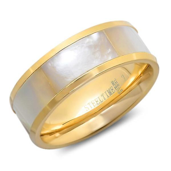 Ladies 18K Gold Plated Stainless Steel Ring With Mop Stone