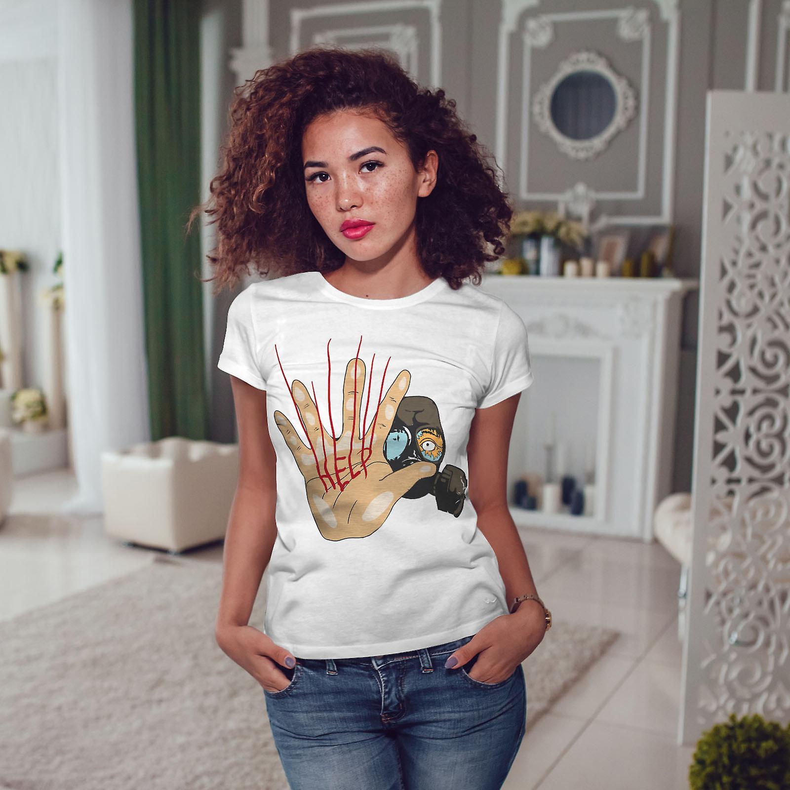Masquer appel à l'aide de WhiteT-shirt femme | Wellcoda