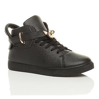 Ajvani womens platt spets upp guld bälte bandet Hej hög topp fotled utbildare stövlar pumpar skor sneakers
