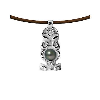 Totem Tribal Men's Leather, Tahitian Pearl and Silver Massive Necklace 925 7023