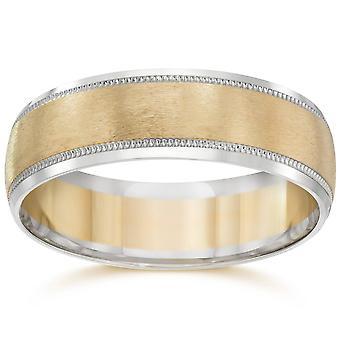 خاتم رجالي 14 ك بيضاء آند صفراء الفرقة حفل زفاف اثنين من لهجة الذهب