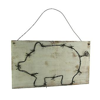 Decorative Barbed Wired Pig On Rustic Wood Wall Hanging