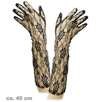 Mănușă de dantelă lung negru accesoriu 40cm