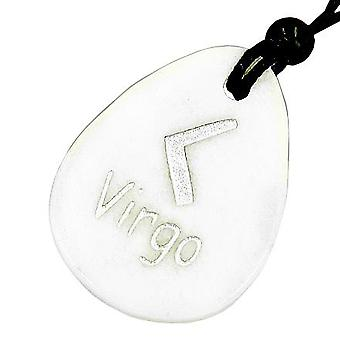 A White Jade Virgo Lucky Astrological Rune Necklace