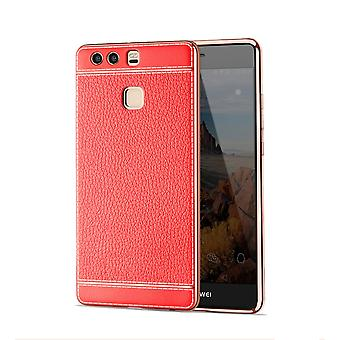 Mobile Shell voor Huawei P9 beschermende case zak van bumper gevallen faux leder rood