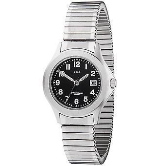 JOBO المرأة ساعة اليد كوارتز التناظرية الفولاذ المقاوم للصدأ فليكسباند تاريخ المرأة ووتش