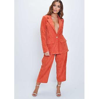 Corduroy veckat Culotte byxa Orange