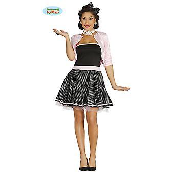 50-luvun rock n roll hyvät mekko musta ja valkoinen pilkullinen hameet Billy puku Carnival