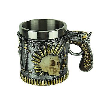 Spiked Skull Revolver Handle Steampunk Bullet Mug