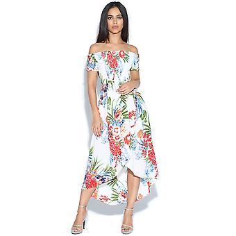 Tropische Print getaucht Saum Bardot Kleid