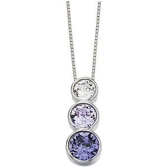 Beginnings Swarovski Triple Pendant - Purple/Silver