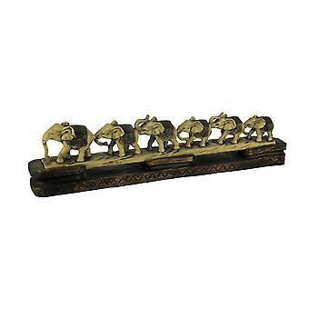 Elephants On Parade Decorative Faux Carved Statue