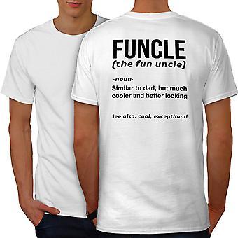 Uncle Funy Men WhiteT-shirt Back | Wellcoda