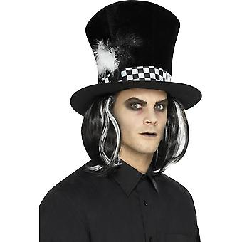 Dark Tea Party Top Hat, Black, with Hair