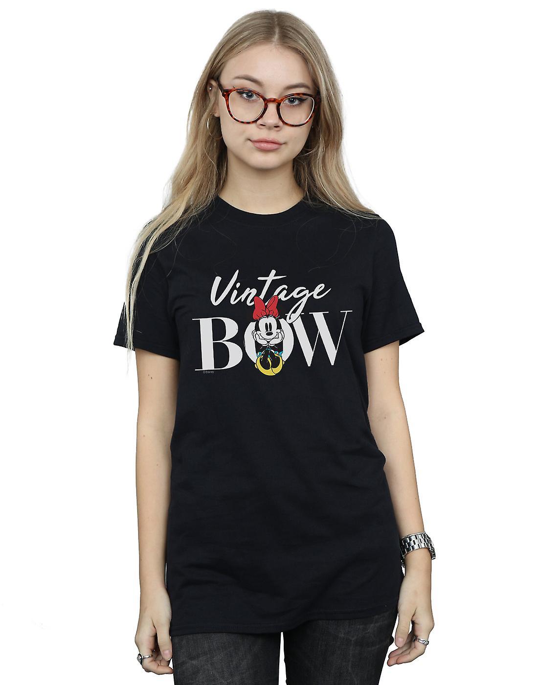 Disney Women's Minnie Mouse Vintage Bow Boyfriend Fit T-Shirt