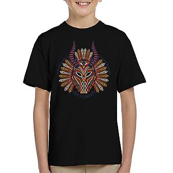 Marvel Black Panther Erik Killmonger Mask Pattern Kid's T-Shirt