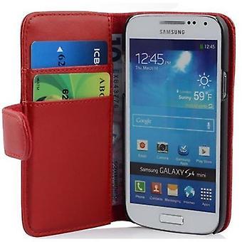 Cadorabo Hülle für Samsung Galaxy S4 MINI Case Cover - Handyhülle aus glattem Kunstleder mit Standfunktion und Kartenfach – Case Cover Schutzhülle Etui Tasche Book Klapp Style