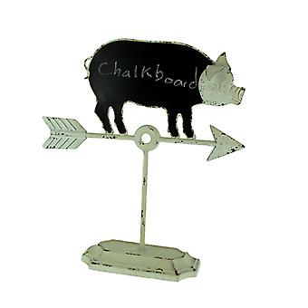 Vintage White Farmhouse Pig and Arrow Standing Chalkboard Sign