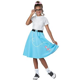 50s Grease Rock N Roll 1950s Sock Hop Retro Girls Costume Blue Poodle Skirt