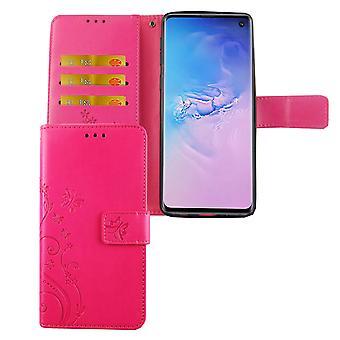 Samsung Galaxy S10 Handy Hülle Schutz-Tasche Cover Flip-Case Kartenfach Pink