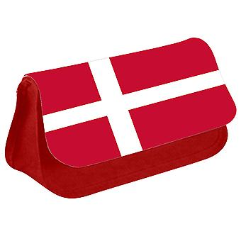 Denmark Flag Printed Design Pencil Case for Stationary/Cosmetic - 0047 (Red) by i-Tronixs