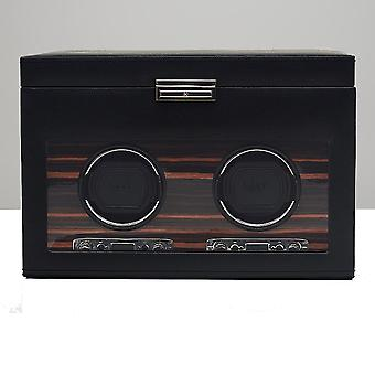 Wolf Designs Roadster Black Leather & Wood Double Watch Winder 2.7 With Storage