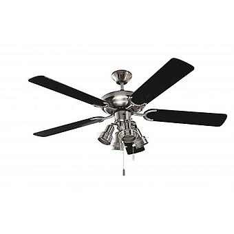 Ceiling fan Steel-Star Black with lights 132cm / 52